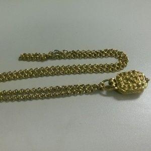 "Jewelry - Vintage 24"" Locket Necklace Bulky Chunky"
